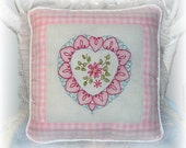 Pillow Pink Hand Embroidered Heart Shabby Cottage Chic