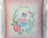 Embroidered Pillow Southern Belle Bonnet Lady Crinoline Lady Shabby Cottage Chic