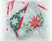Christmas Hanging Pillow Poinsettia Door Hanger Ornament