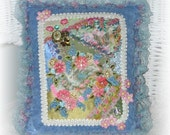 Decorative Pillow Hand Embroidered Crazy Quilt Blue Pink Cat Embellished Collage Art