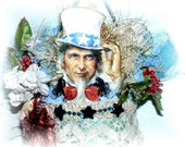Patriotic Tussy Mussy Victorian Decor Blue 4th of July Uncle Sam