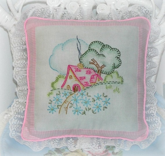 Embroidered Cottage Pillow
