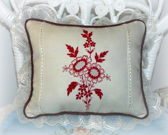 Floral Redwork Embroidered Pillow