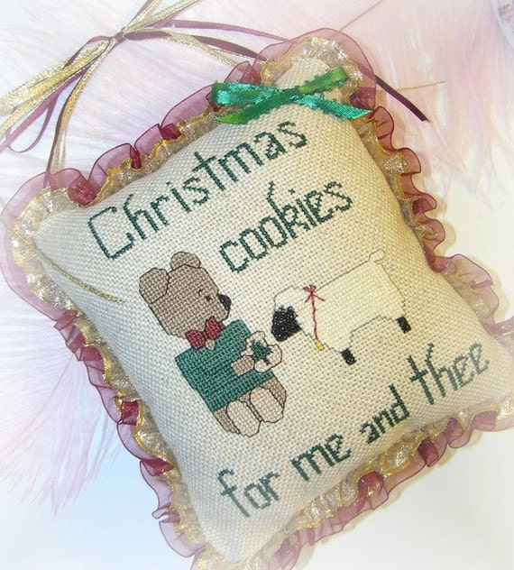 Christmas Door Hanging Country Cross Stitch Hand Embroidered