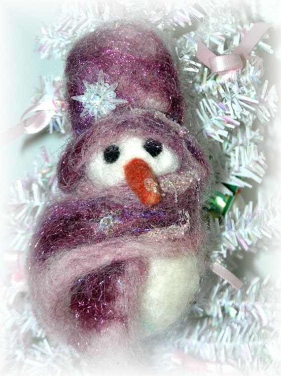 Snowman Christmas Ornament Needle Felted