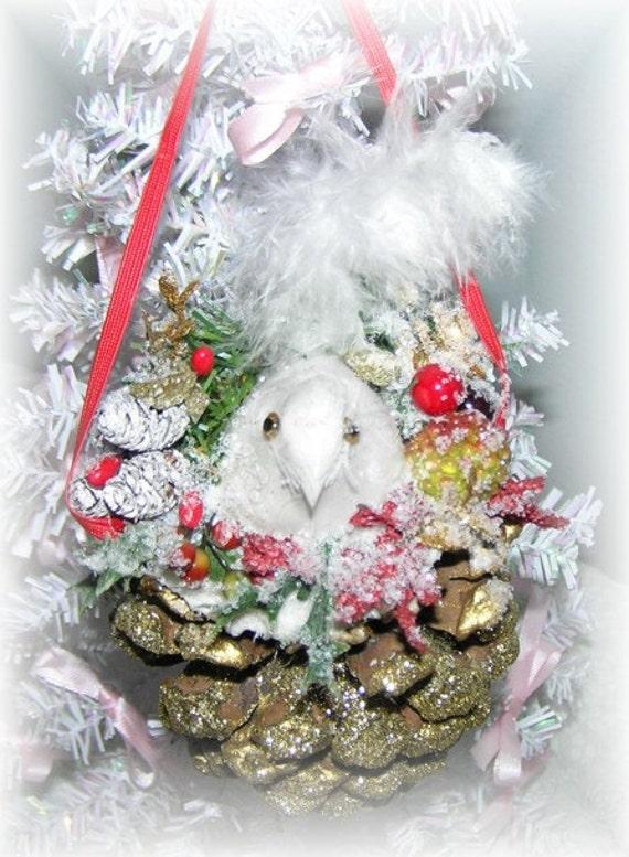 Pinecone Bird Ornament with White Bird and Glitter