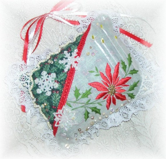 Christmas Hanging Pillow Poinsettia Door Hanger Ornament