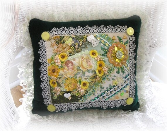 Decorative Pillow Hand Embroidered Crazy Patchwork Quilt Yellow Green Victorian Roses Embellished Beaded Collage Embroidery