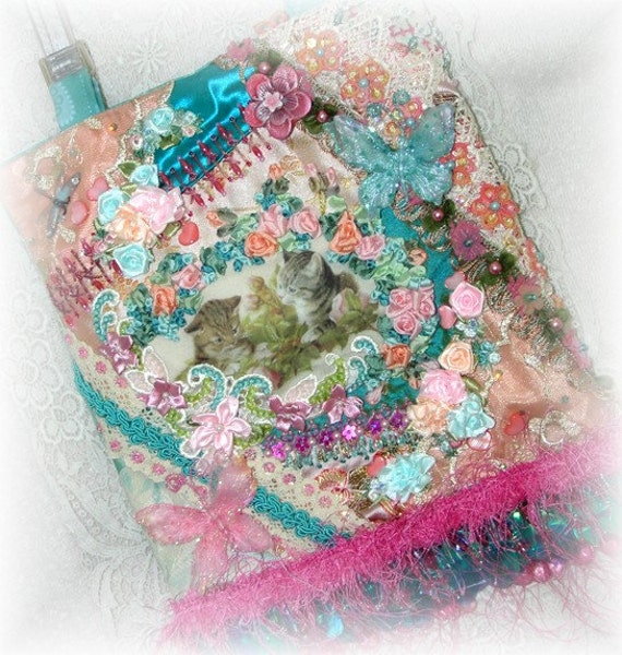 RESERVED FOR JOANN Cat Purse, Crazy Quilt Handbag, Embroidered