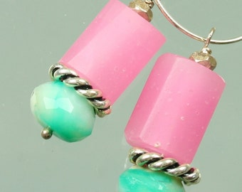 Lampwork Glass Beads - Peruvian Blue Opal - Sterling Silver Earrings