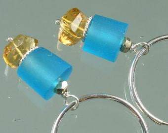 Lampwork Glass Beads - Citrine - Sterling Silver -Earrings