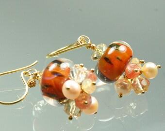sale ... earrings - boro borosilicate lampwork glass beads - sunstone - citrine - mexican fire opal - pearls - gold vermeil