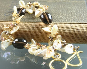 FINAL SALE * 50% off * SALE * Bracelet - Sterling Silver - Smokey Quartz - White Keishi Pearls - Citrine - Imperial Topaz - Gold Vermeil