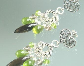 FINAL SALE * 50% off * SALE earrings- -smokey quartz - peridot - vassonite - sterling silver