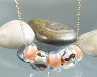 sale ... necklace - lampwork glass beads - gold