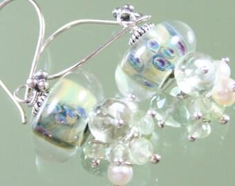 serene earrings- lampwork glass boro borosilicate beads - pearls - prehnite - green amethyst - sterling silver