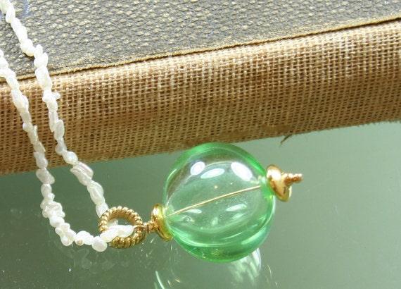 green hollow lampwork glass bead pendant
