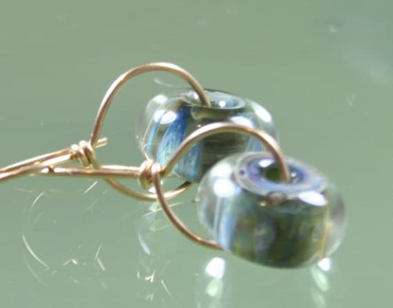earrings- lampwork glass boro borosilicate beads -  gold filled