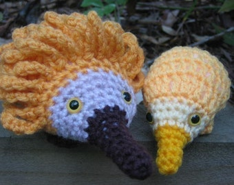 Echidna and baby puggles crochet patterns