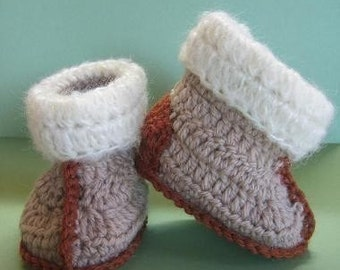 Aussie Snuggly Ugg Crochet Booties (baby - toddler size) crochet patterns