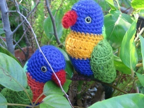 Crochet Stitches Australia : Rainbow Lorikeet crochet pattern Australian Native Birds Etsy