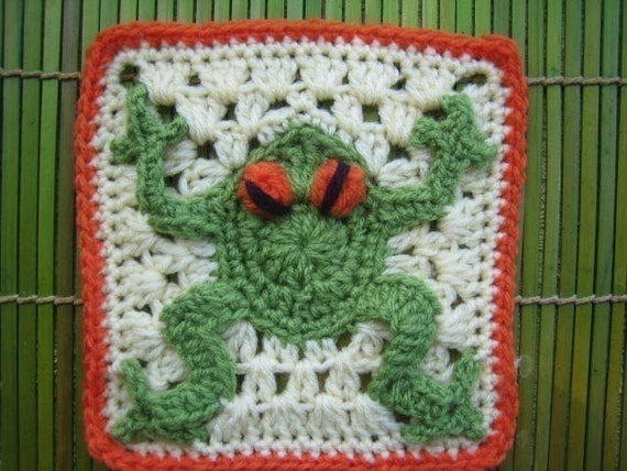 Red eyed frog square - rugalugs crochet pattern