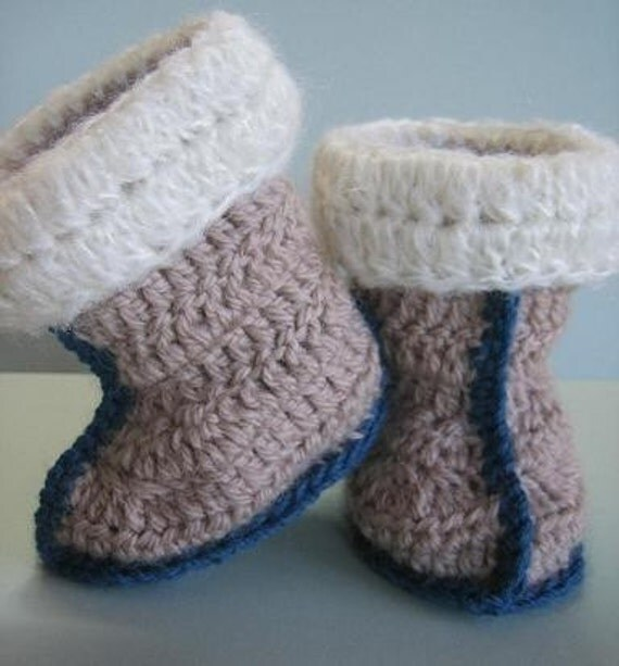 Thread Crochet Baby Booties Patterns : Aussie Snuggly Ugg Crochet Booties baby toddler size