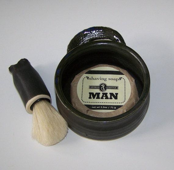 Stoneware Shaving Set Deep Dark Masculine Color