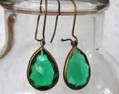 GREEN with ENVY Vintage Drop Earrings with Antique Brass