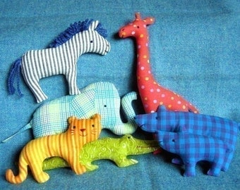 Zoo Set - Little Softies PDF EMAIL sewing pattern, Zoo Animals, simple stuffed toys, Noah's Ark, Scrap savers, elephant zebra giraffe bear