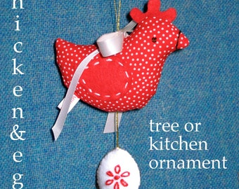 Chicken 'n Egg ornament sewing pattern