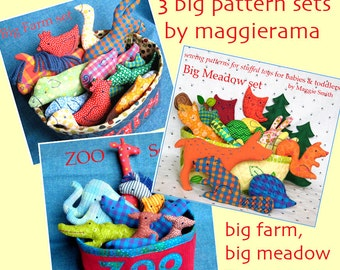 3 Big Pattern Sets Combo - Farm animals, Zoo animals, Meadow animals, EMAIL PDF sewing pattern, Stuffed toys for babies and toddlers