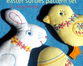 Embroidered Easter Softies patterns set - INSTANT DOWNLOAD