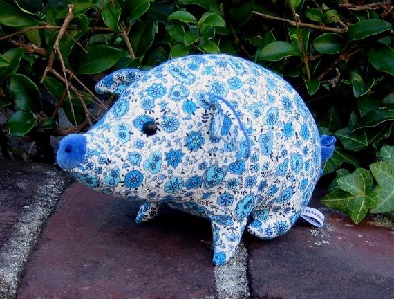 Percy Pig -- stuffed animal -- vintage fabric