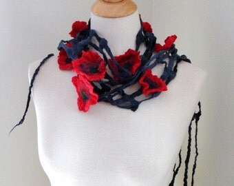 Poppies Everywhere. Hand Felted Scarf