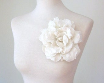 Large Rose Pin .White Flower Pin