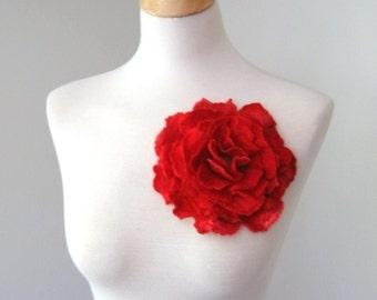 Red Flower Pin  --  Large Flower Brooch - Felted Flower Brooch
