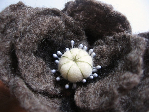 Gray Poppy Brooch\/Pin. Hand Felted