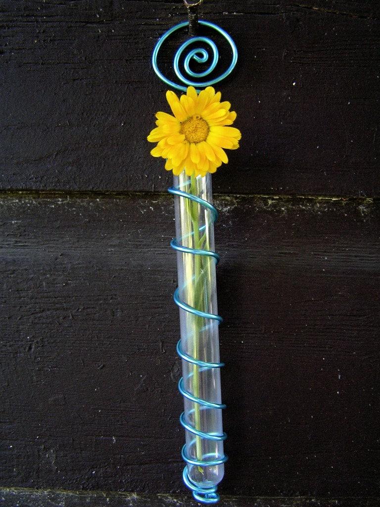 Blue test tube flower vase for Test tube vase