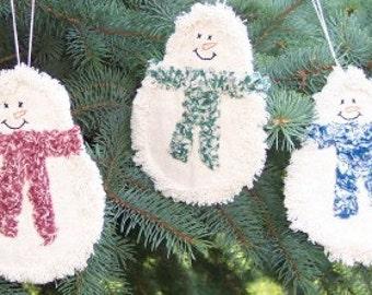 Rag Quilt Snowman Ornies E PATTERN PDF