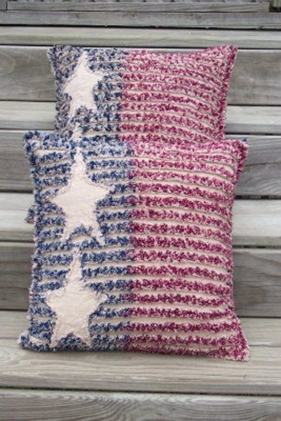 Items Similar To Americana Rag Quilt Chenille Flag Throw