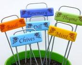 Gardener Gift, Fused Glass Garden Markers, set of 6