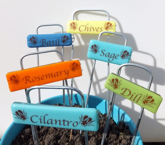 Unique Gift, Handmade Glass Garden Markers, set of 6