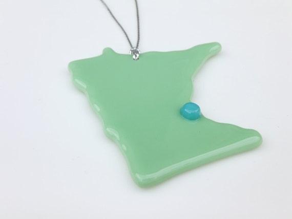 Holiday Ornament, Sage Glass Minnesota Ornament FREE SHIPPING (to USA)