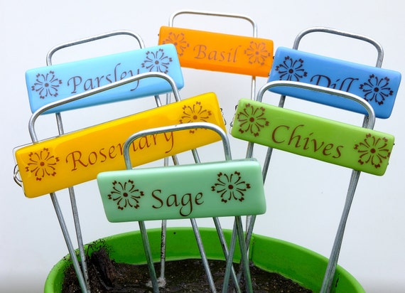 Green Thumb Gift, Unique Gift, Glass Garden Markers, set of 6