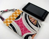 iPhone 5, 4, 4S Fabric Case, Smart Phone Case in Hot Couturier Hibiscus with Tangerine