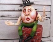 Primitive HUMPTY DUMPTY Folk Art Clay Doll