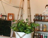 Macrame Plant Hanger PLAIN and SIMPLE Jute Planter Holder Made In USA