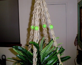 Macrame Plant Hanger Holder LEMON LIME Green