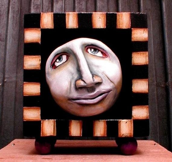 Primitive Full MOON Man Halloween Decor Folk Art